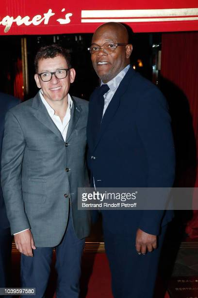 Actor Samuel L Jackson and Actor Dany Boon attend 'Ryder Cup Dinner' at Fouquet's Barriere on September 24 2018 in Paris France