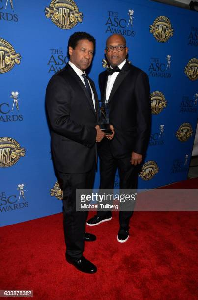 Actor Samuel L Jackson and director Denzel Washington attend the 31st Annual American Society Of Cinematographers Awards at The Ray Dolby Ballroom at...