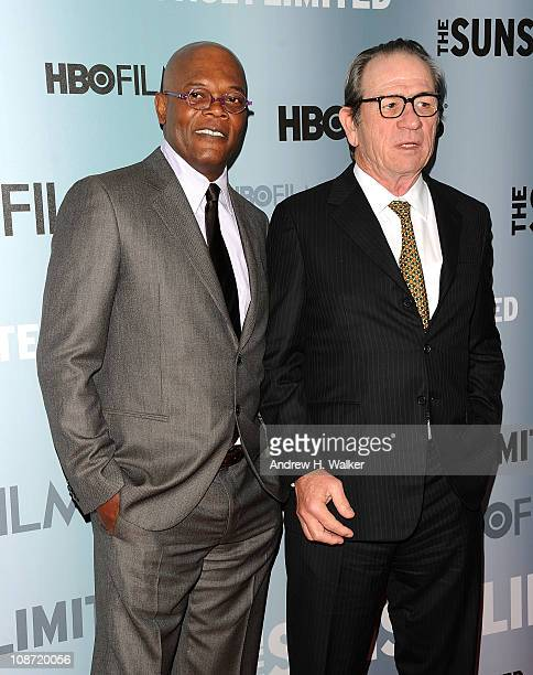 Actor Samuel L Jackson and director executive producer and actor Tommy Lee Jones attend the HBO Films The Cinema Society screening of Sunset Limited...