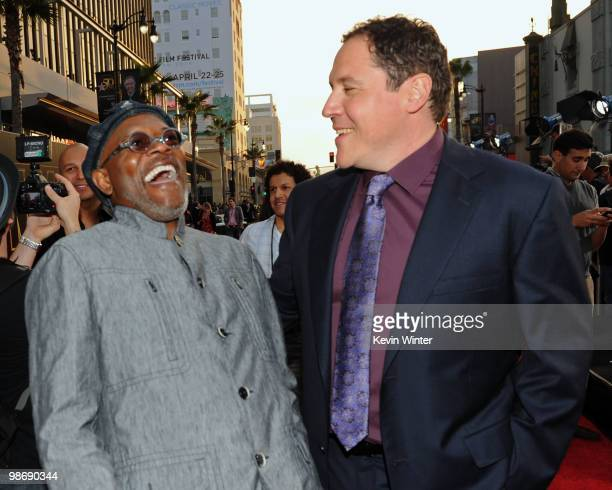 Actor Samuel L Jackson and director/executive producer Jon Favreau arrive at the world premiere of Paramount Pictures and Marvel Entertainment's Iron...