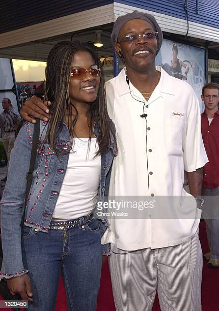 """Actor Samuel L. Jackson and his daughter arrive at the world premiere of Paramount Pictures'' """"Lara Croft: Tomb Raider"""" June 11 at the Mann Village..."""