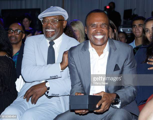 Actor Samuel L Jackson and honoree Sugar Ray Leonard at HollyRod Foundation's DesignCare Gala on July 15 2017 in Pacific Palisades California