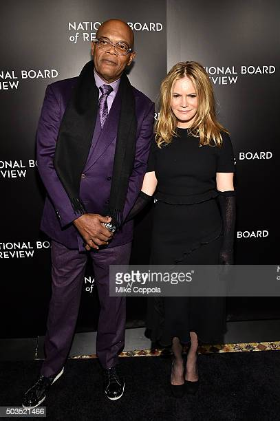 Actor Samuel L Jackson and Jennifer Jason Leigh attend 2015 National Board of Review Gala at Cipriani 42nd Street on January 5 2016 in New York City