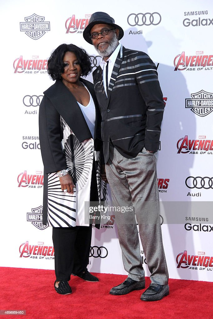 Actor Samuel L. Jackson (R) and LaTanya Richardson arrive at the Premiere Of Marvel's 'Avengers: Age Of Ultron' at the Dolby Theatre on April 13, 2015 in Hollywood, California.