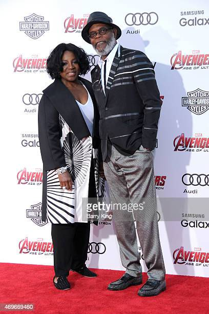 Actor Samuel L Jackson and LaTanya Richardson arrive at the Premiere Of Marvel's 'Avengers Age Of Ultron' at the Dolby Theatre on April 13 2015 in...