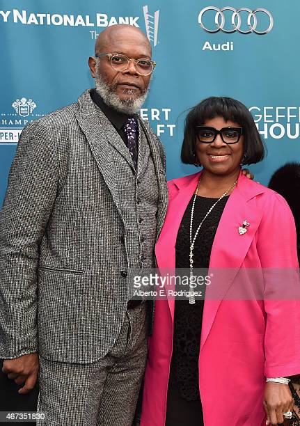 Actor Samuel L Jackson and LaTanya Richardson attend The Geffen Playhouse's 'Backstage at the Geffen' Gala at The Geffen Playhouse on March 22 2015...