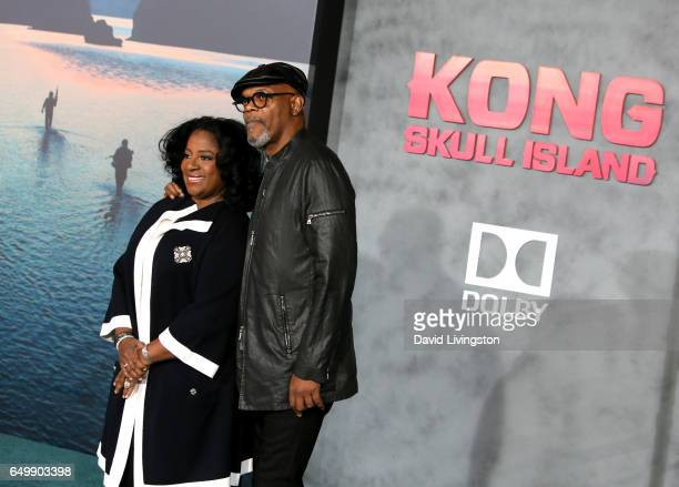 Actor Samuel L Jackson and LaTanya Richardson attend the premiere of Warner Bros Pictures' 'Kong Skull Island' at Dolby Theatre on March 8 2017 in...
