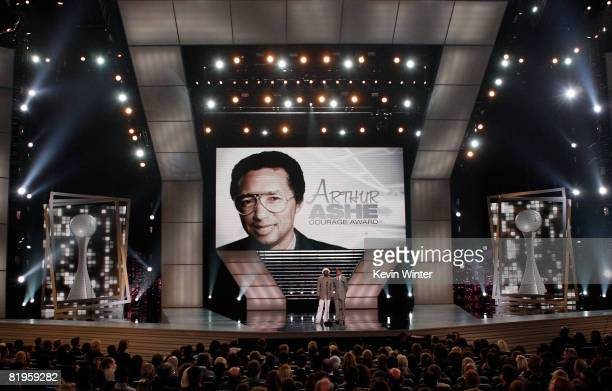 Actor Samuel L Jackson and NBA athlete Steve Nash present the Arthur Ashe Award for Courage onstage at the 2008 ESPY Awards held at NOKIA Theatre LA...