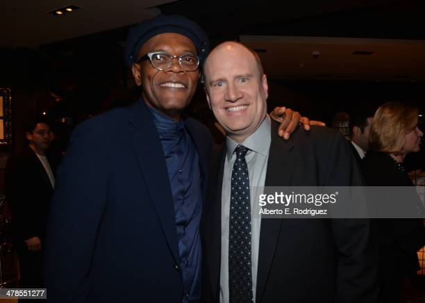 Actor Samuel L Jackson and producer Kevin Feige attend the after party for Marvel's Captain America The Winter Soldier premiere at the El Capitan...