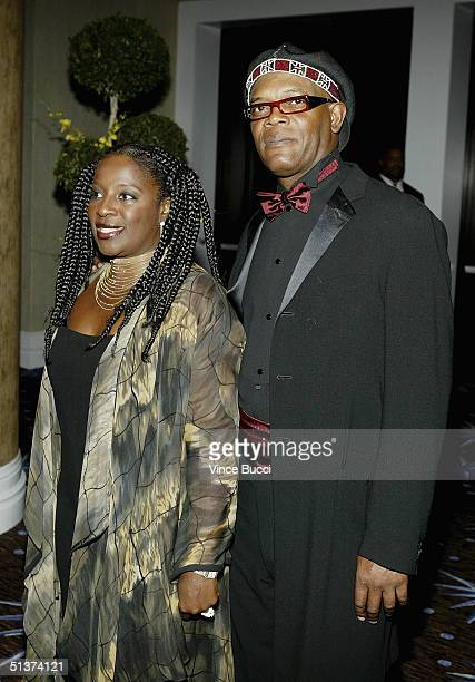 Actor Samuel L Jackson and wife attend A Tribute To Ray Charles benefit for Morehouse College on September 29 2004 in Beverly Hills California