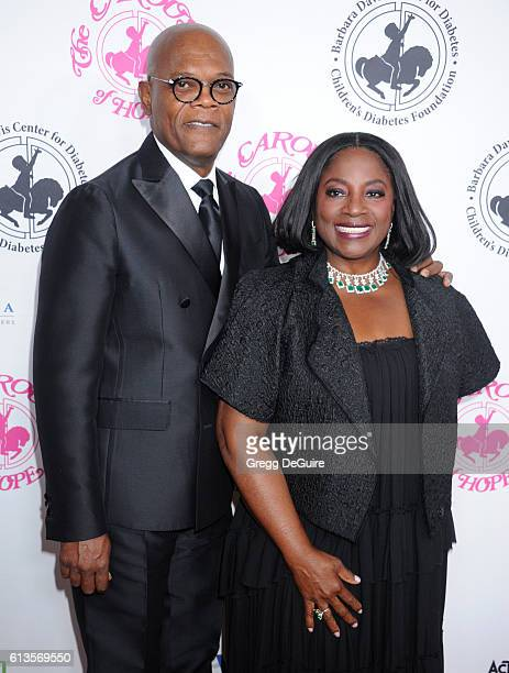 Actor Samuel L Jackson and wife LaTanya Richardson arrive at the 2016 Carousel Of Hope Ball at The Beverly Hilton Hotel on October 8 2016 in Beverly...