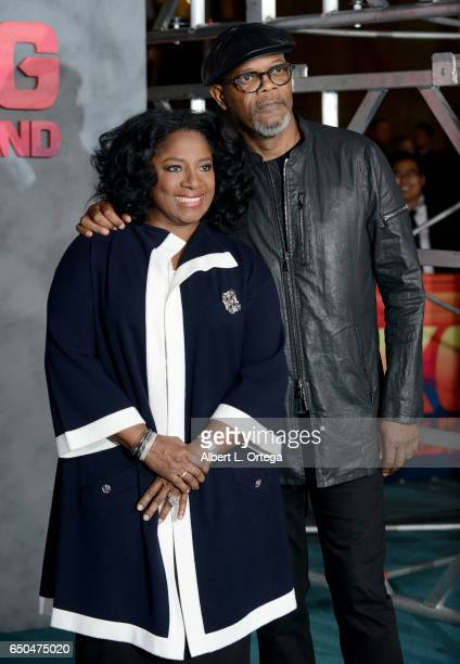 Actor Samuel L Jackson and wife LaTanya Richardson arrive for the Premiere Of Warner Bros Pictures' 'Kong Skull Island' held at Dolby Theatre on...