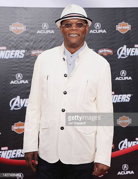 """Actor Samuel L. Jackson arrives at the Los Angeles Premiere of """"The Avengers"""" at the El Capitan Theatre on April 11, 2012 in Hollywood, California."""