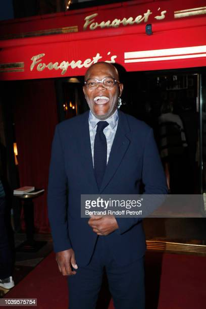 Actor Samuel L Jackson attends 'Ryder Cup Dinner' at Fouquet's Barriere on September 24 2018 in Paris France