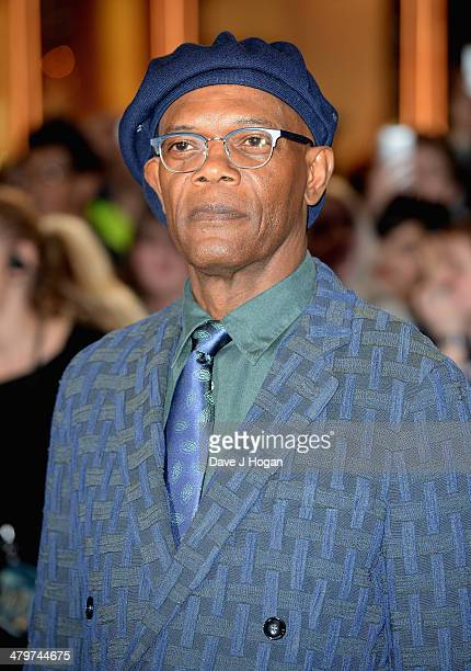 """Actor Samuel L Jackson attends the """"Captain America: The Winter Soldier"""" UK film premiere at Westfield on March 20, 2014 in London, England."""