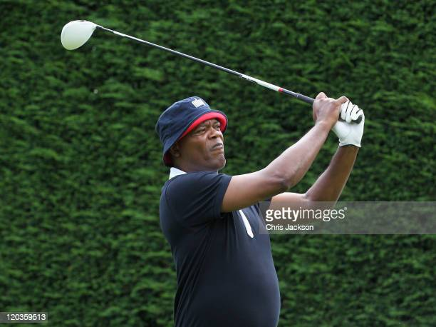 Actor Samuel L Jackson attends the FitFlop Shooting Stars Benefit at Wentworth Park on August 5 2011 in Virginia Water England The event hosted by...