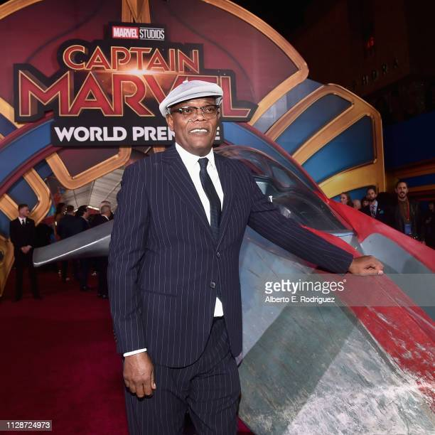 Actor Samuel L Jackson attends the Los Angeles World Premiere of Marvel Studios' Captain Marvel at Dolby Theatre on March 4 2019 in Hollywood...