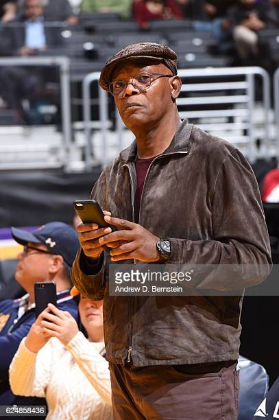Actor Samuel L Jackson attends the San Antonio Spurs game against the Los Angeles Lakers on November 18 2016 at STAPLES Center in Los Angeles...