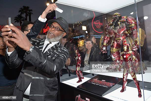 Actor Samuel L Jackson attends the world premiere of Marvel's Avengers Age Of Ultron at the Dolby Theatre on April 13 2015 in Hollywood California