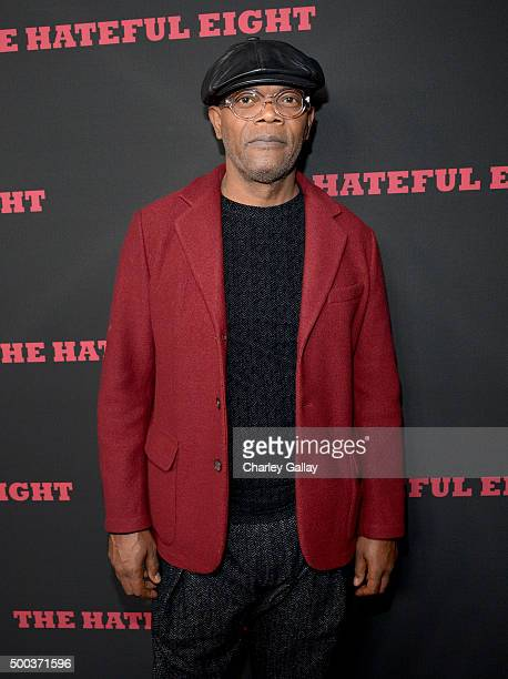 Actor Samuel L Jackson attends the world premiere of 'The Hateful Eight' presented by The Weinstein Company at ArcLight Cinemas Cinerama Dome on...