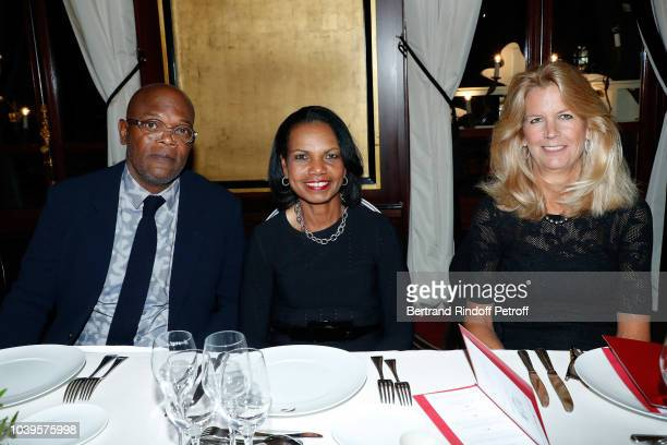 Actor Samuel L Jackson Condoleezza Rice and guest attend 'Ryder Cup Dinner' at Fouquet's Barriere on September 24 2018 in Paris France