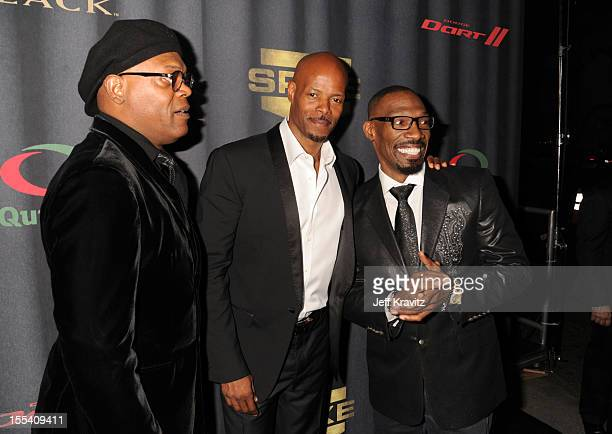 Actor Samuel L Jackson director Keenen Ivory Wayans and actor Charlie Murphy arrive at Spike TV's 'Eddie Murphy One Night Only' at the Saban Theatre...