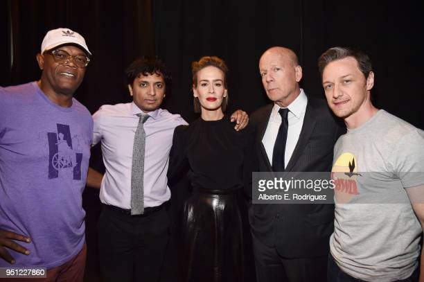 Actor Samuel L Jackson director M Night Shyamalan actors Sarah Paulson Bruce Willis and James McAvoy attend CinemaCon 2018 Universal Pictures Invites...