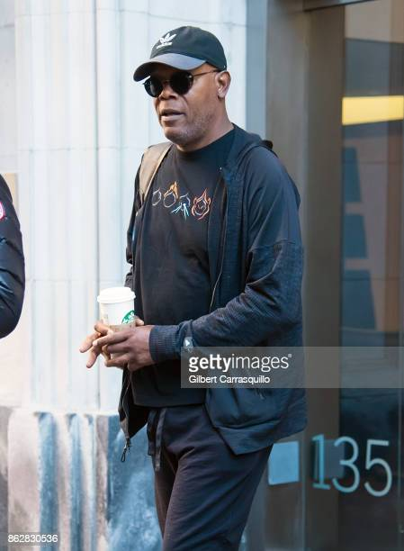 Actor Samuel L Jackson is seen heading to the set of 'Glass' a sequel to M Night Shyamalan's thriller Unbreakable on October 18 2017 in Philadelphia...