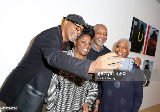 Actor Samuel L Jackson LaTanya Richardson artist Kerry James Marshall and Cheryl Lynn Bruce attend MOCA's Leadership Circle and Members' Opening of...