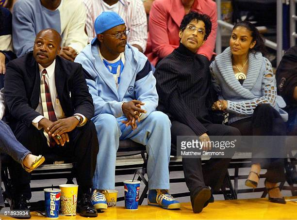 Actor Samuel L Jackson Musician Prince and wife Manuela Testolini watch the Los Angeles Lakers game against the Miami Heat at the Staples Center...