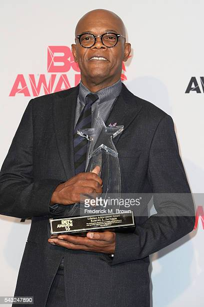 Actor Samuel L Jackson recipient of the BET Lifetime Achievement Award poses in the press room during the 2016 BET Awards at the Microsoft Theater on...