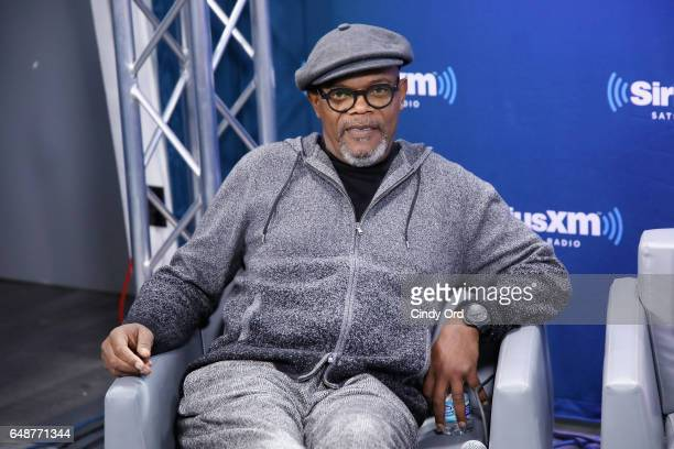 Actor Samuel L Jackson speaks during SiriusXM's 'Town Hall' with the cast of 'Kong Skull Island' town hall to air on SiriusXM's Entertainment Weekly...