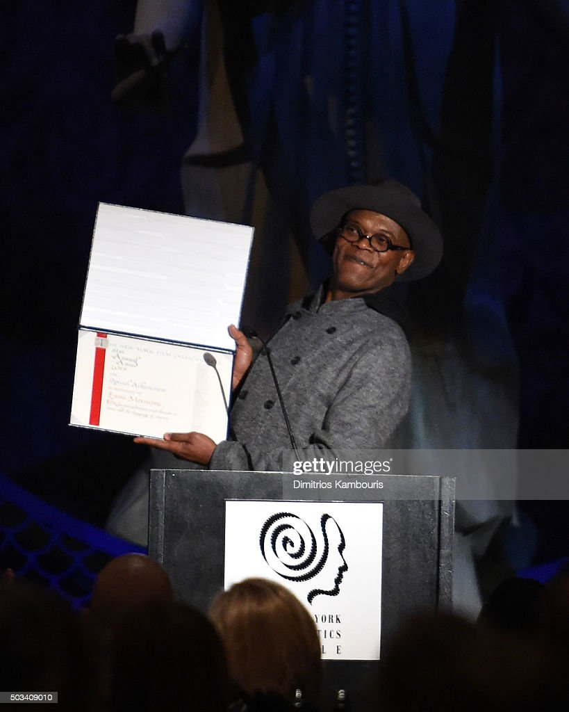 Actor Samuel L. Jackson speaks on stage during 2015 New York Film Critics Circle Awards at TAO Downtown on January 4, 2016 in New York City.