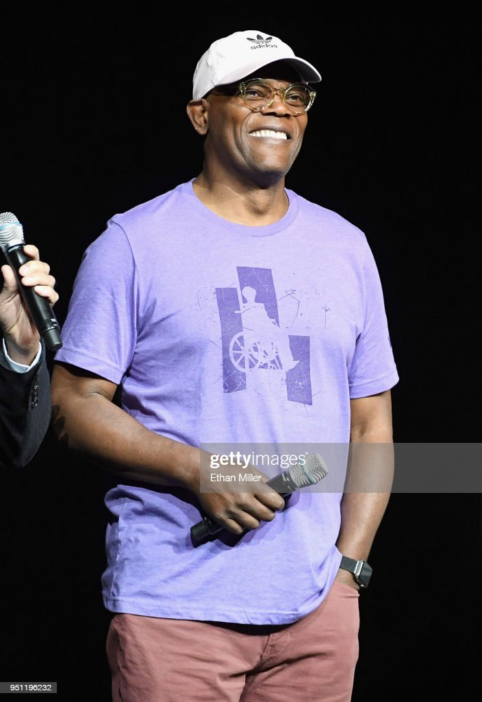 Actor Samuel L. Jackson speaks onstage during CinemaCon 2018 Universal Pictures Invites You to a Special Presentation Featuring Footage from its Upcoming Slate at The Colosseum at Caesars Palace during CinemaCon, the official convention of the National Association of Theatre Owners, on April 25, 2018 in Las Vegas, Nevada.