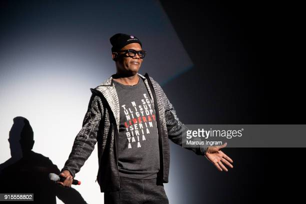 Actor Samuel L Jackson speaks onstage during the Marvel Studios 'Black Panther' Atlanta movie screening at The Fox Theatre on February 7 2018 in...
