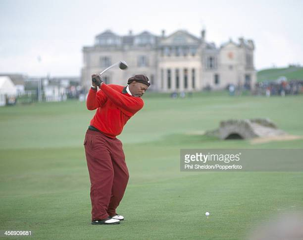 Actor Samuel L Jackson teeing off during the Alfred Dunhill Cup ProAm golf competition held at the St Andrews Golf Course Scotland circa October 1998