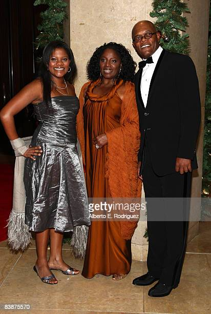 Actor Samuel L Jackson wife LaTanya Richardson and daughter Zoe Jackson arrive at the 23rd annual American Cinematheque show honoring Samuel L...