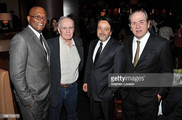 Actor Samuel L Jackson writer Cormac McCarthy HBO Films president Len Amato and director/actor Tommy Lee Jones attend the HBO Films The Cinema...