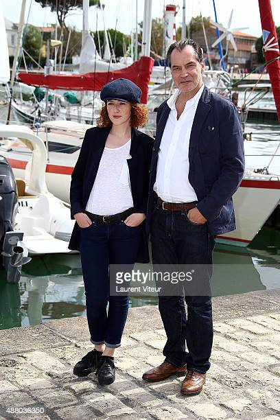 Actor Samuel Labarthe and Actress Blandine Bellavoir attend the 'Petits Meutres D'Agatha Christie' Photocall during the 17th Festival of TV Fiction...