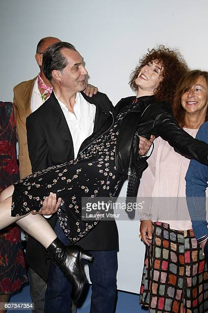 Actor Samuel Labarthe and Actress Blandine Bellavoir attend the closing ceremony during the 18th Festival of TV Fiction on September 17, 2016 in La...