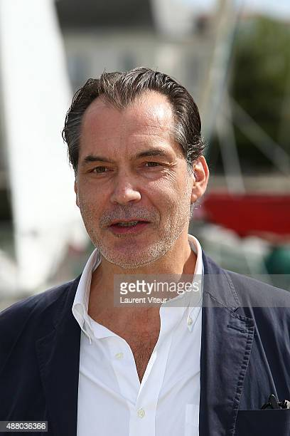 Actor Samuel Labarthe attends the 'Petits Meutres D'Agatha Christie' Photocall during the 17th Festival of TV Fiction At La Rochelle on September 12...