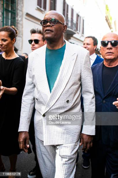 Actor Samuel Leroy Jackson is seen outside Giorgio Armani show, during the Milan Men's Fashion Week Spring/Summer 2020 on June 17, 2019 in Milan,...
