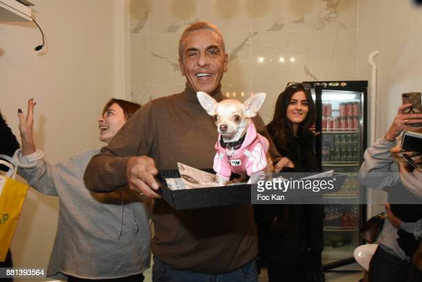 Actor Samy Naceri and dog Milly attend 'Bagel N Fries' Restaurant Opening Party on November 28 2017 in Paris France
