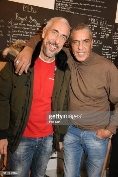 Actor Samy Naceri and his brother screenwriter Bibi Naceri attend 'Bagel N Fries' Restaurant Opening Party on November 28 2017 in Paris France