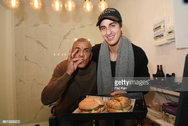 Actor Samy Naceri and his son Julian Naceri attend 'Bagel N Fries' Restaurant Opening Party on November 28 2017 in Paris France