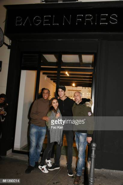 Actor Samy Naceri Ines Julian Naceri and Bibi Naceri attend 'Bagel N Fries' Restaurant Opening Party on November 28 2017 in Paris France