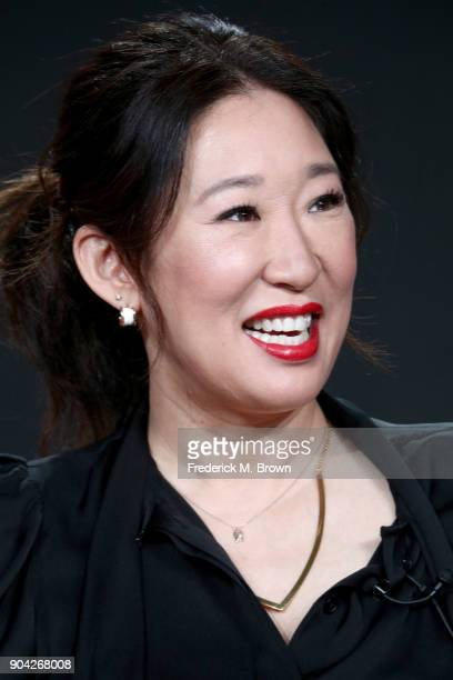 Actor Sandra Oh of 'Killing Eve' speaks onstage during the BBC America portion of the 2018 Winter Television Critics Association Press Tour at The...