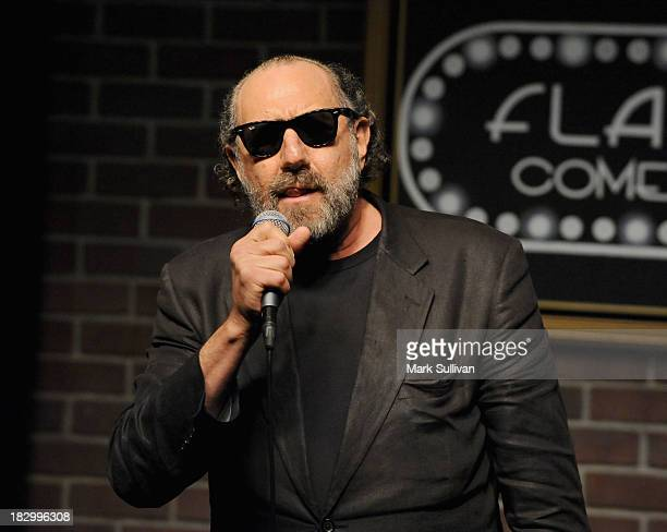 Actor Sandy Gutman aka Austen Tayshus performs during Australians In Film Comedy Night and Fundraiser at Flappers Comedy Club on October 2 2013 in...
