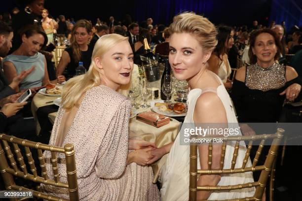 Actor Saoirse Ronan and actor/director Greta Gerwig attend The 23rd Annual Critics' Choice Awards at Barker Hangar on January 11 2018 in Santa Monica...