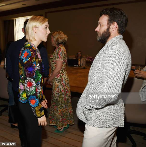 Actor Saoirse Ronan and director Joel Edgerton attend the CinemaCon 2018 Focus Features Presentation at Caesars Palace during CinemaCon the official...